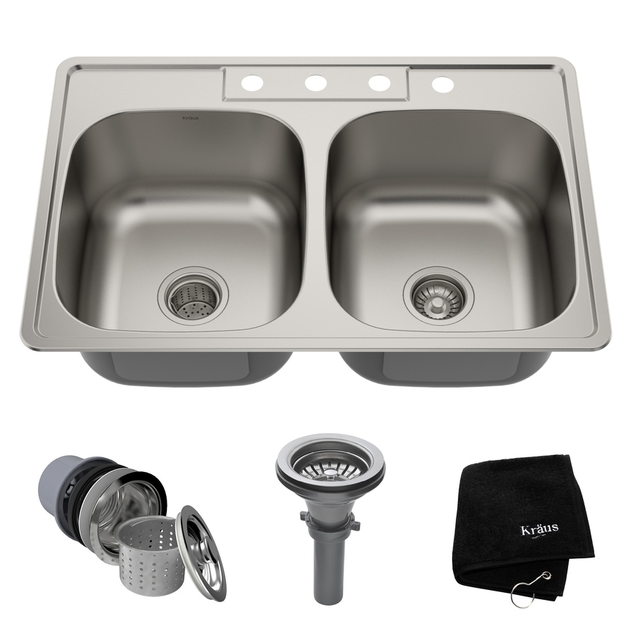 Kraus Kitchen Sink 22-in x 33-in Stainless Steel Double-Basin Drop-In 4-Hole Residential Kitchen Sink All-In-One Kit
