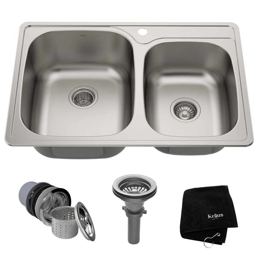 Kraus Kraus Topmount 22-in x 33-in Stainless Steel Double-Basin Drop-in 1-Hole Residential Kitchen Sink All-In-One Kit