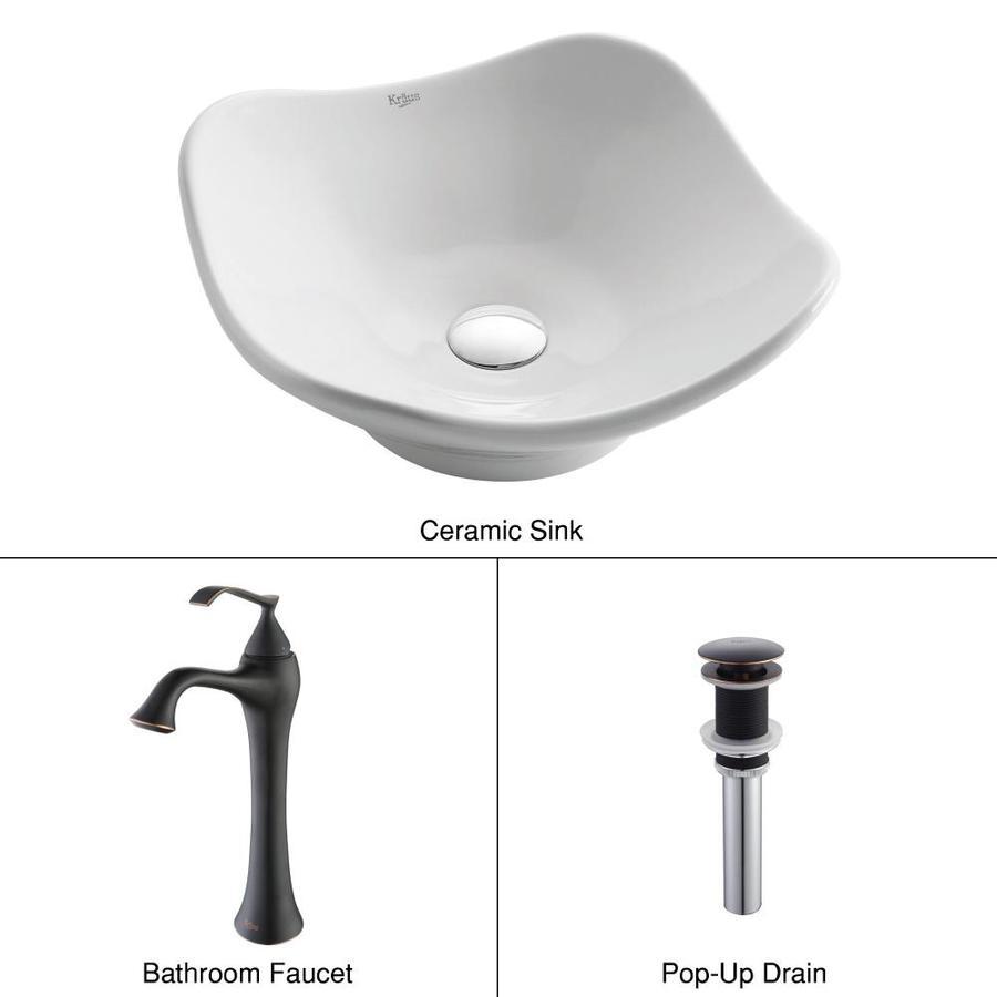 Kraus Ventus Oil-Rubbed Bronze Ceramic Vessel Hexagonal Bathroom Sink with Faucet (Drain Included)