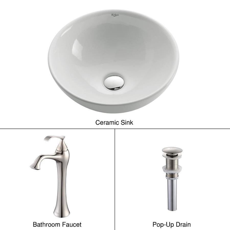 Kraus Ventus Brushed Nickel Ceramic Vessel Round Bathroom Sink with Faucet (Drain Included)