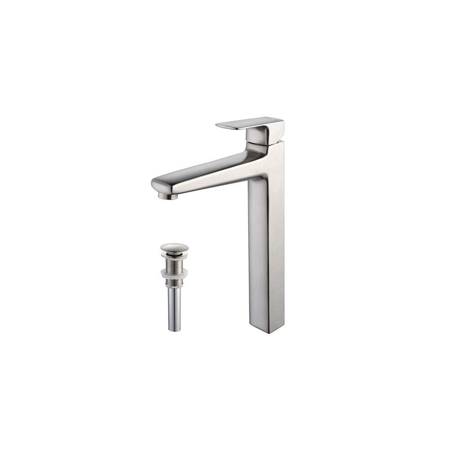 Kraus Virtus Brushed Nickel 1-Handle Single Hole WaterSense Bathroom Faucet (Drain Included)