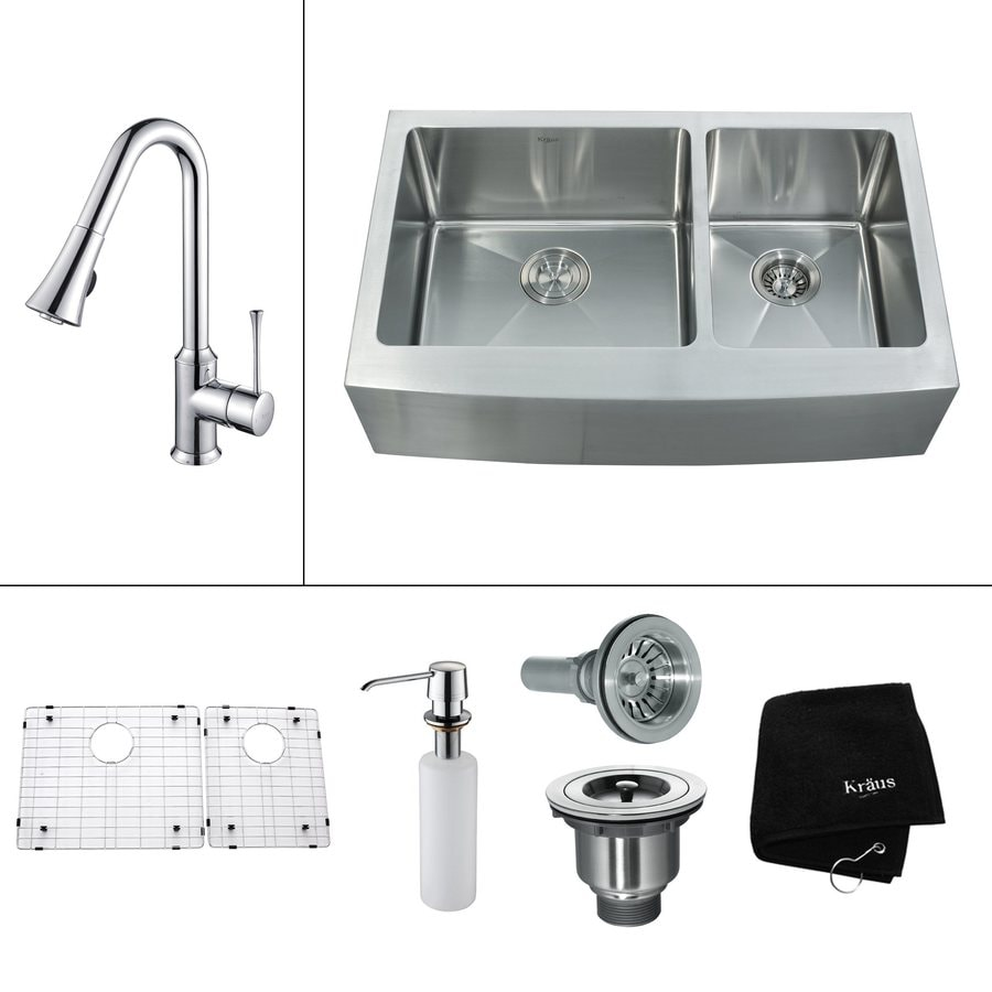 25 Farm Sink Of Kitchen Lowes Double Chrome Kitchen Sink: Shop Kraus 16-Gauge Double-Basin Apron Front Stainless