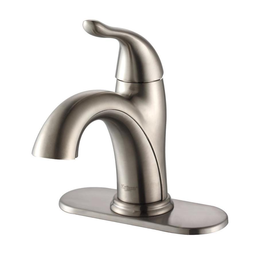 Kraus Arcus Satin Nickel 1-Handle Single Hole WaterSense Bathroom Faucet