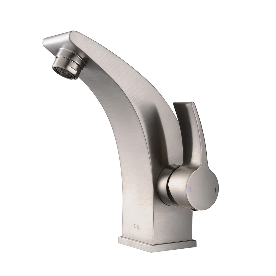 Kraus Illusio Brushed Nickel 1-Handle Single Hole WaterSense Bathroom Faucet
