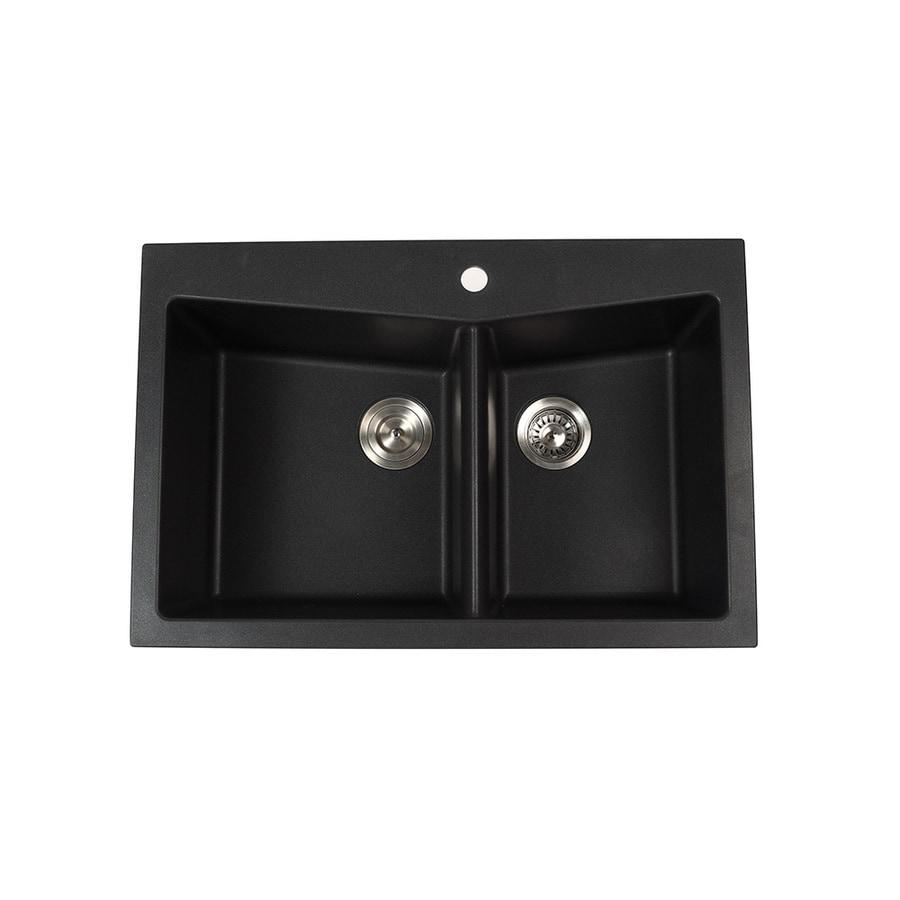 Black Kitchen Sink Lowes: Shop Kraus Kitchen Sink 22-in X 33.5-in Black Onyx Double