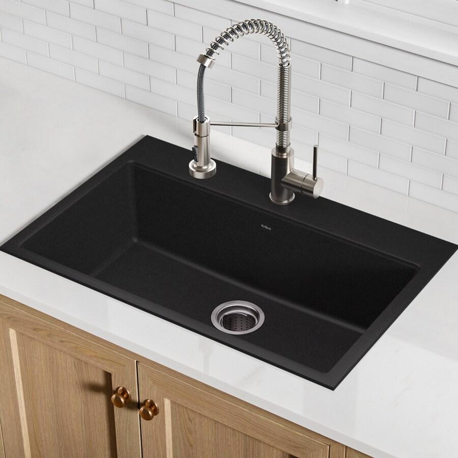 Kraus Kitchen Sink 20.08-in x 30.71-in Black Onyx Single-Basin Granite ...