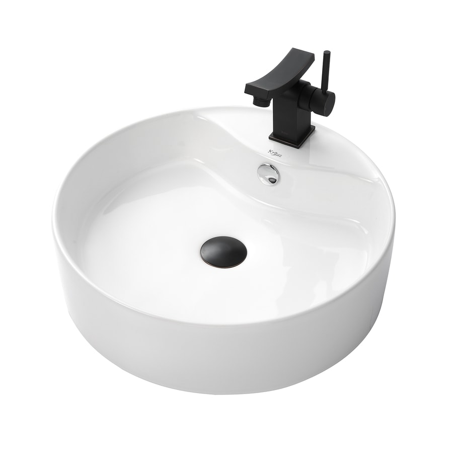 Kraus Unicus Oil Rubbed Bronze Vessel Round Bathroom Sink with Faucet with Overflow (Drain Included)