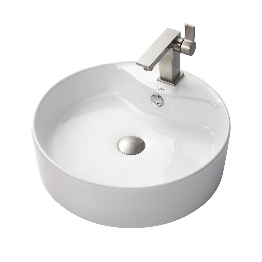 Kraus Sonus Brushed Nickel Vessel Round Bathroom Sink with Faucet with Overflow (Drain Included)