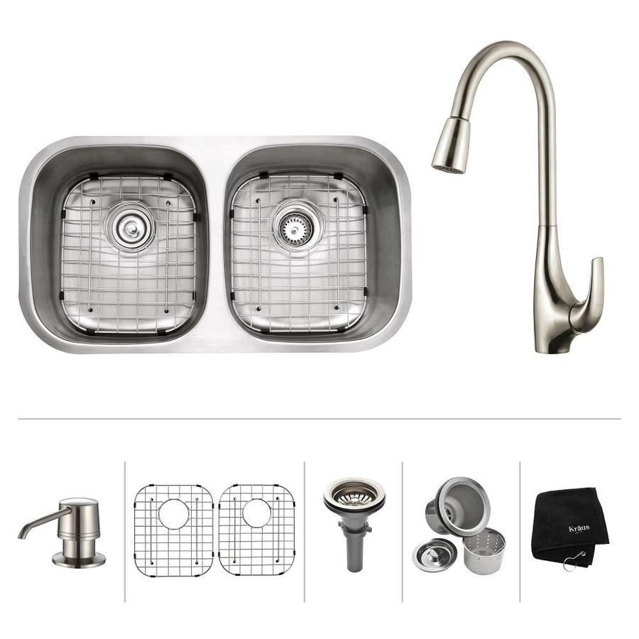 Kraus Kitchen Combo 18-in x 32.25-in Stainless Steel Double-Basin Undermount Residential Kitchen Sink All-In-One Kit