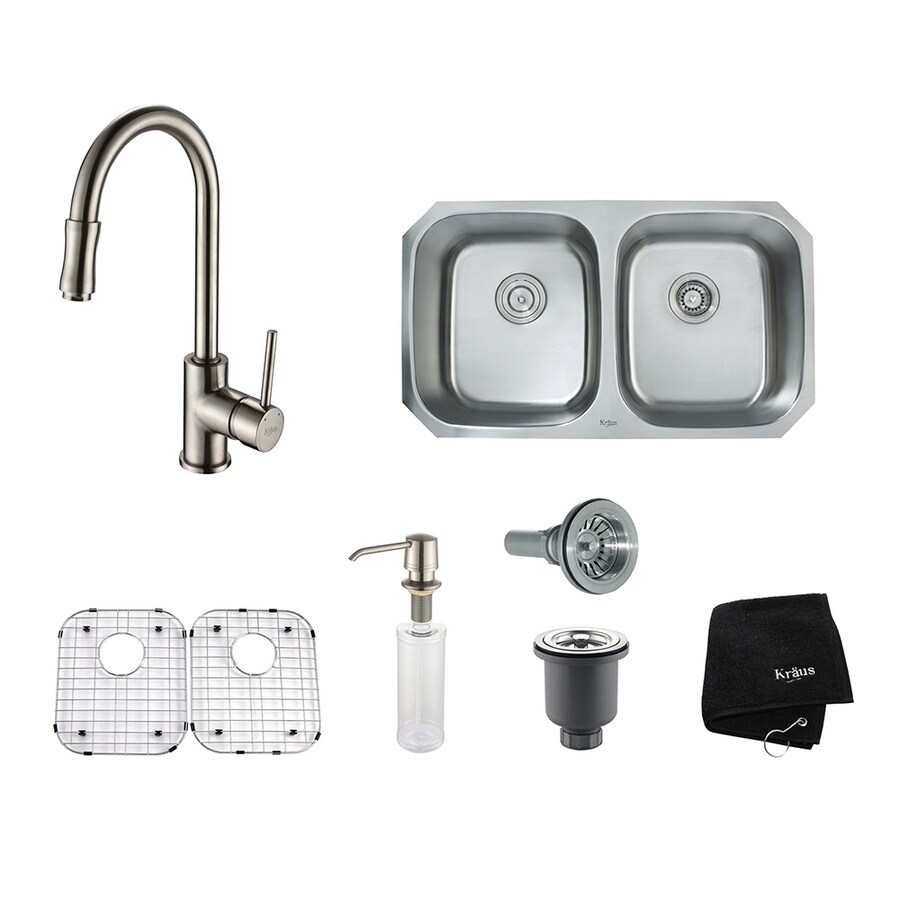 Kraus Kitchen Combo 18-in x 32.25-in Satin Nickel Double-Basin Stainless Steel Undermount Residential Kitchen Sink All-In-One Kit