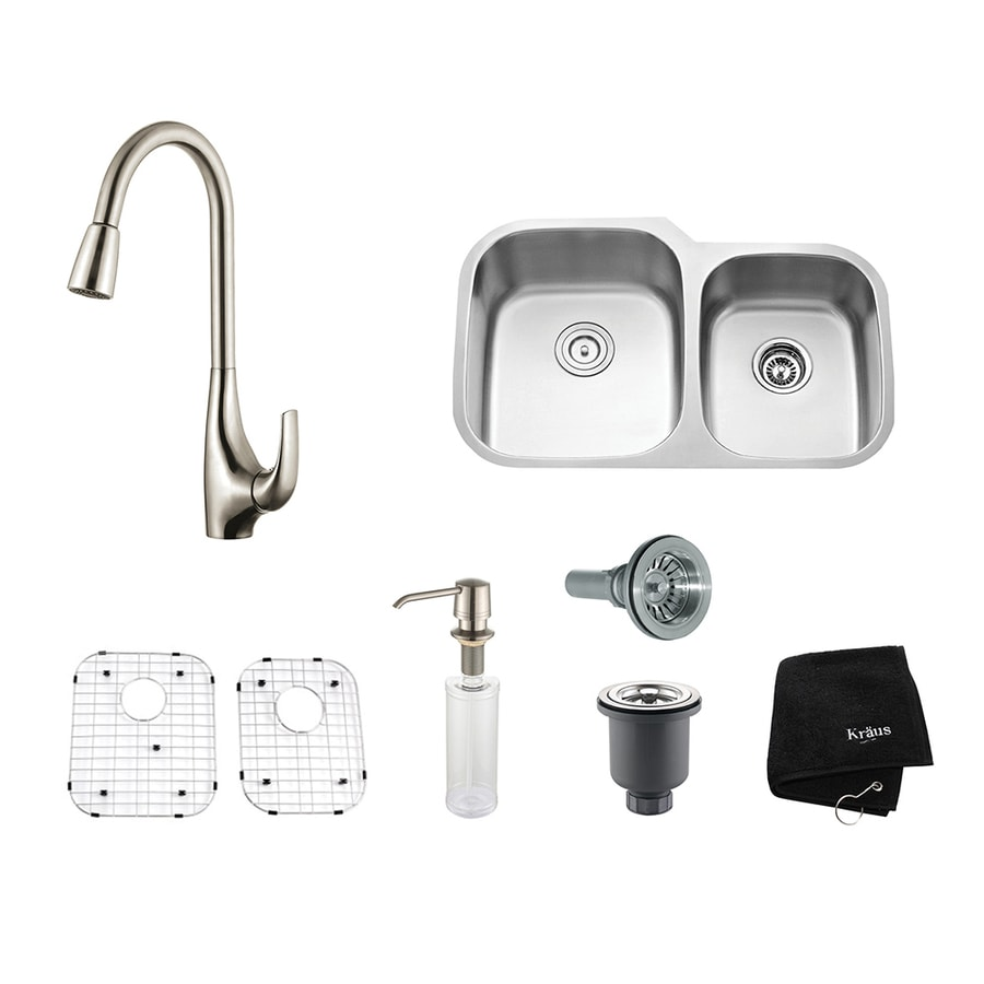 Kraus Kitchen Combo 20.63-in x 32-in Stainless Steel Double-Basin Undermount Residential Kitchen Sink All-In-One Kit