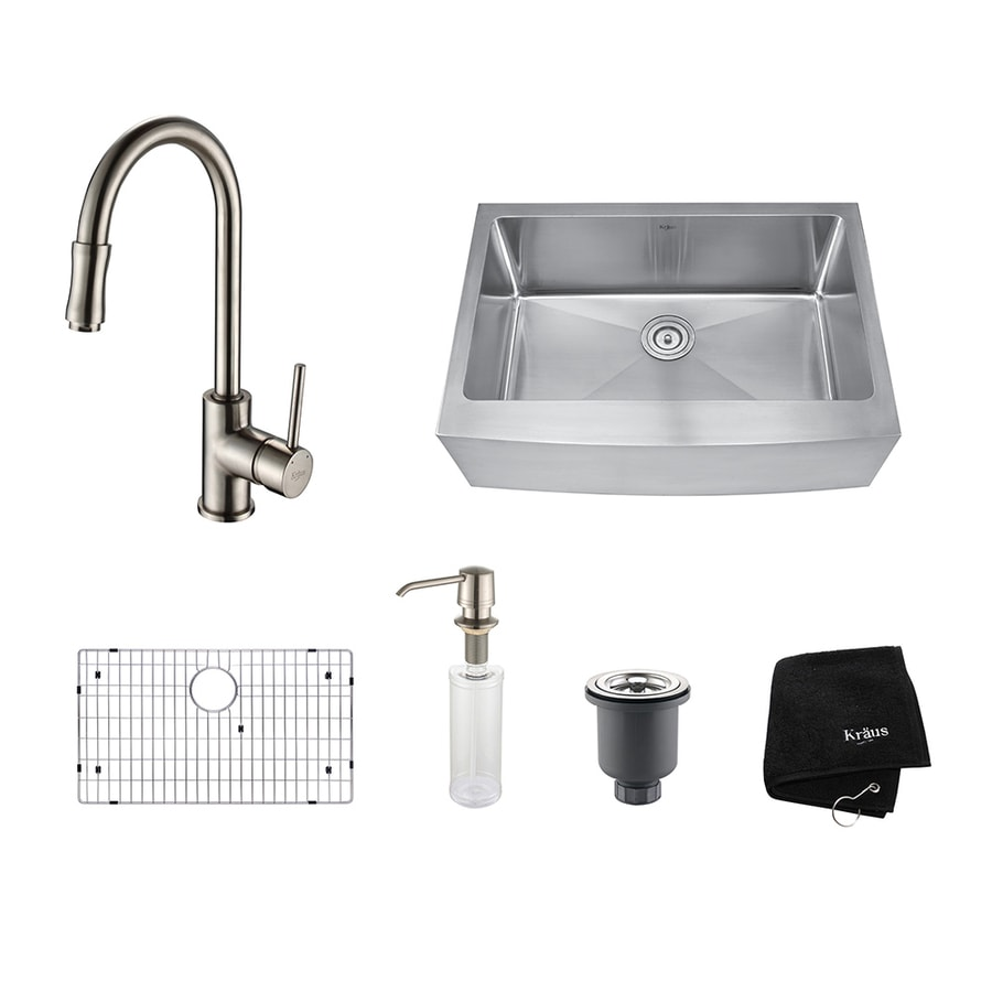 Kraus Kitchen Combo 20-in x 29.75-in Satin Nickel Single-Basin Stainless Steel Apron Front/Farmhouse Residential Kitchen Sink All-In-One Kit