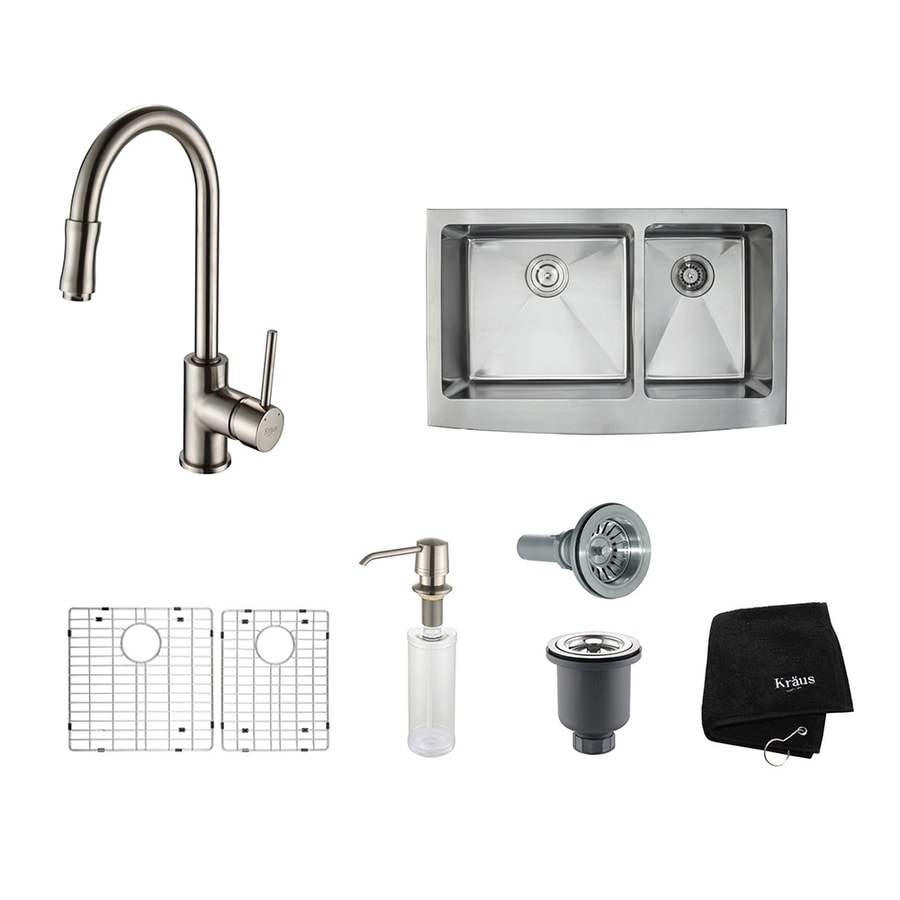 Kraus Kitchen Combo 20.75-in x 32.9-in Satin Nickel Double-Basin Stainless Steel Apron Front/Farmhouse Residential Kitchen Sink All-In-One Kit