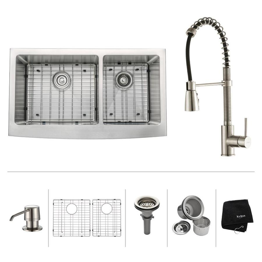 Kraus Kitchen Combo 20.75-in x 35.9-in Stainless Steel Double-Basin Apron Front/Farmhouse Residential Kitchen Sink All-In-One Kit