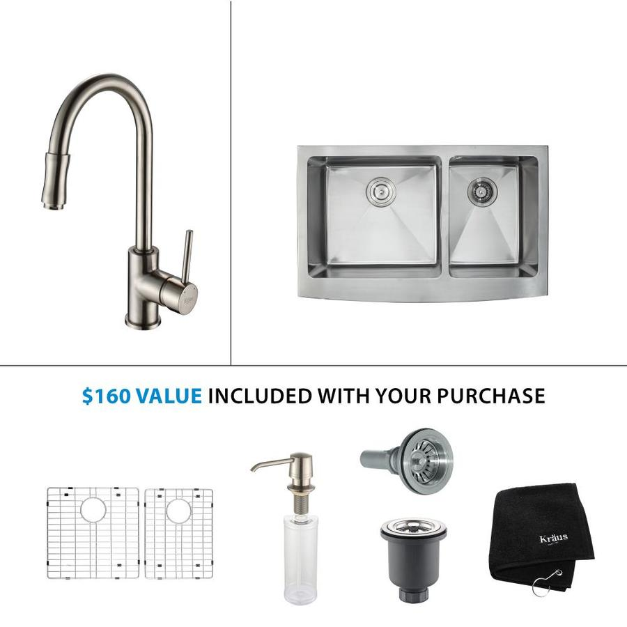 Kraus Kitchen Combo 20.75-in x 35.9-in Satin Nickel Double-Basin Stainless Steel Apron Front/Farmhouse Residential Kitchen Sink All-In-One Kit
