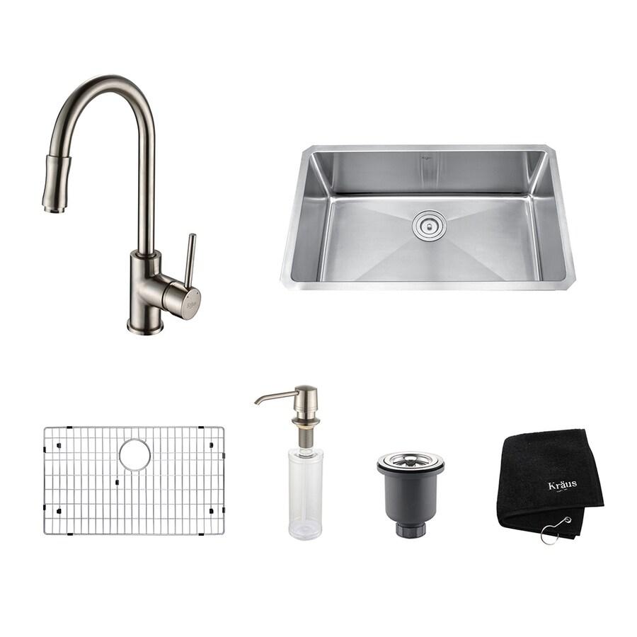 Kraus Kitchen Combo 18-in x 30-in Satin Nickel Single-Basin Stainless Steel Undermount Residential Kitchen Sink All-In-One Kit
