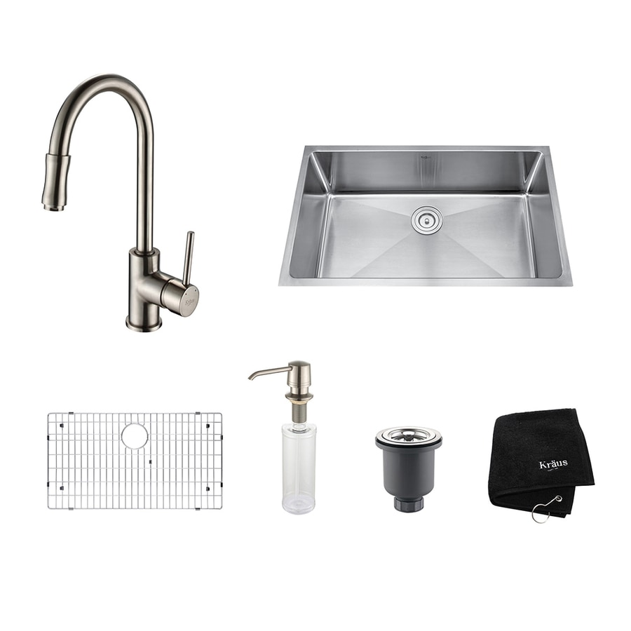Kraus Kitchen Combo 19-in x 32-in Satin Nickel Single-Basin Stainless Steel Undermount Residential Kitchen Sink All-In-One Kit