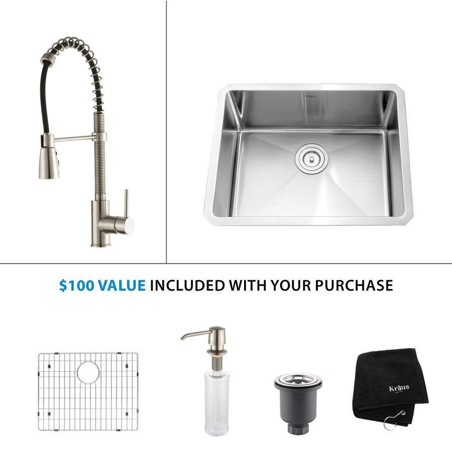 Kraus Kitchen Combo 18-in x 23-in Stainless Steel Single-Basin Undermount Residential Kitchen Sink All-In-One Kit