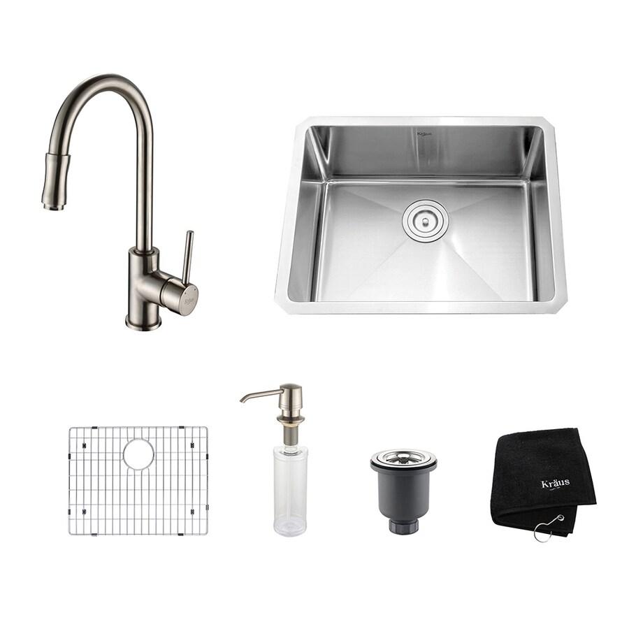 Kraus Kitchen Combo 18-in x 23-in Satin Nickel Single-Basin Stainless Steel Undermount Residential Kitchen Sink All-In-One Kit