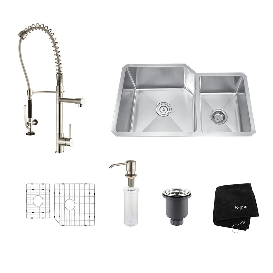 Kraus Kitchen Combo 20-in x 32-in Stainless Steel Double-Basin Undermount Residential Kitchen Sink All-In-One Kit