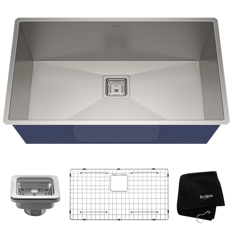 Kraus Pax Zero-Radius 18.5-in x 31.5-in Stainless Steel Single-Basin Undermount Corner Install Residential Kitchen Sink