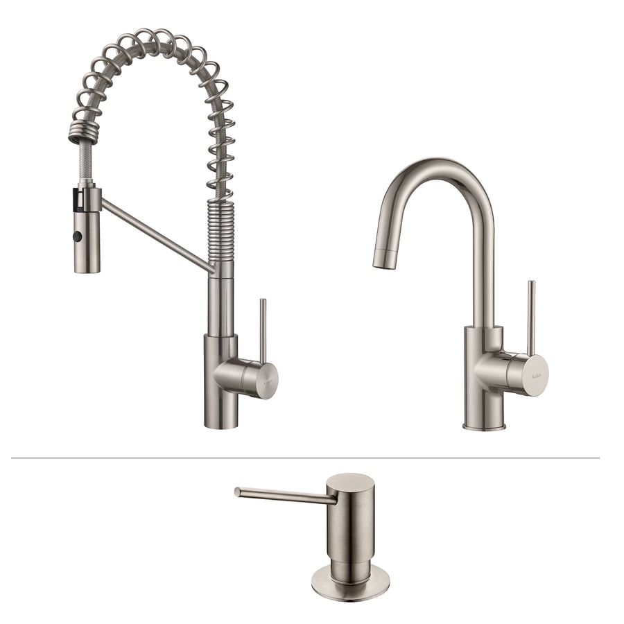 Shop kraus kitchen faucet set stainless steel 1 handle for Handle kitchen set
