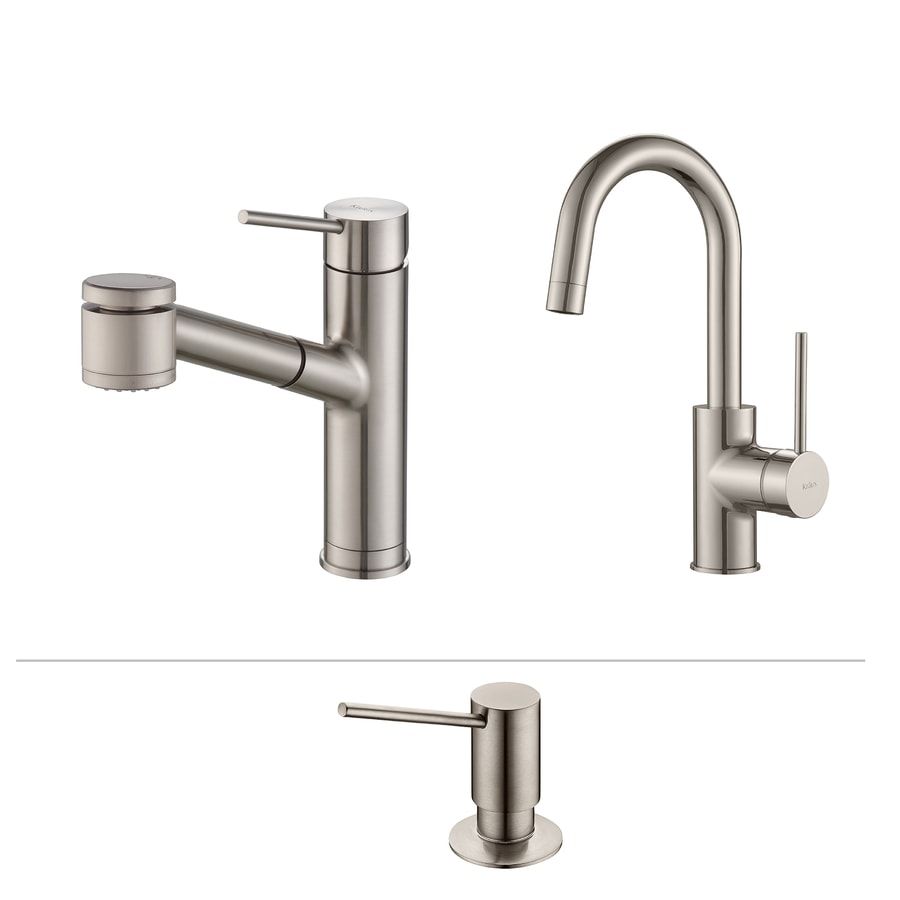 Shop Kraus Kitchen Faucet Set Stainless Steel 1-Handle Pull-Out Sink ...