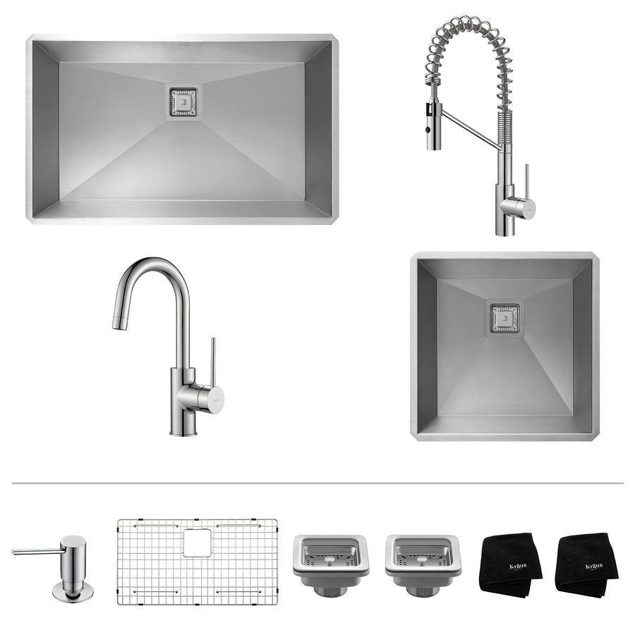 Kraus Pax Zero-Radius 18.5-in x 31.5-in Stainless Steel Sink with Chrome Faucet Double-Basin Undermount Coner Install Residential Kitchen Sink All-In-One Kit