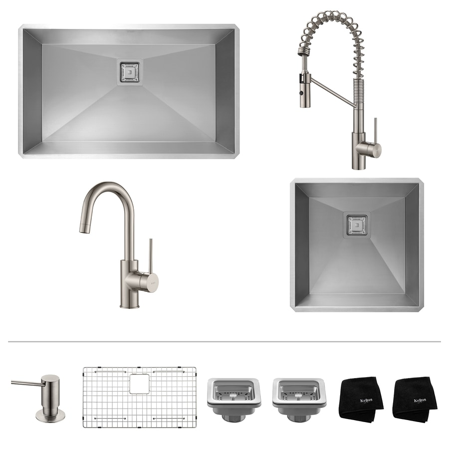 Kraus Pax Zero-Radius 18.5-in x 31.5-in Stainless Steel Double-Basin Undermount Corner Install Residential Kitchen Sink All-In-One Kit