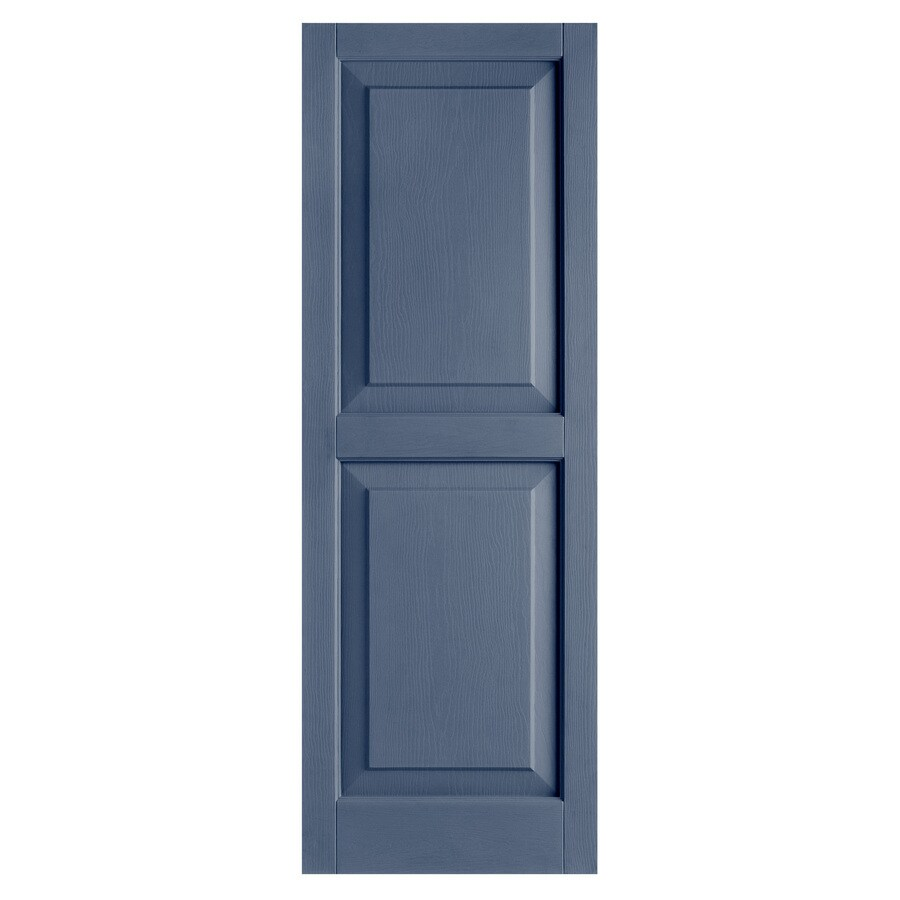 Alpha 2-Pack Blue Raised Panel Vinyl Exterior Shutters (Common: 15-in x 51-in; Actual: 14.75-in x 51.19-in)