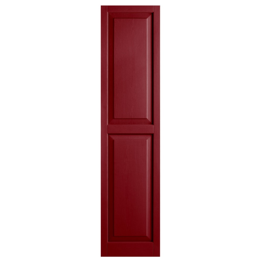 Alpha 2-Pack Cranberry Raised Panel Vinyl Exterior Shutters (Common: 15-in x 63-in; Actual: 14.75-in x 62.19-in)