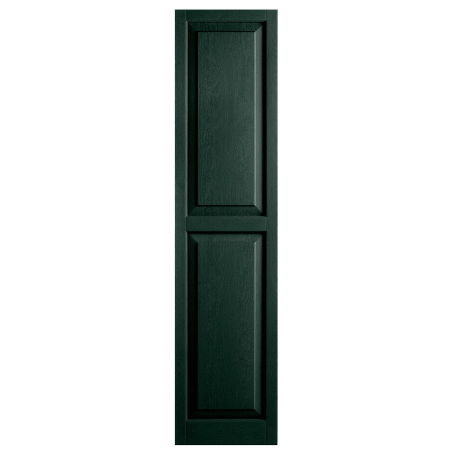 Alpha 2-Pack Pine Raised Panel Vinyl Exterior Shutters (Common: 15-in x 63-in; Actual: 14.75-in x 62.19-in)