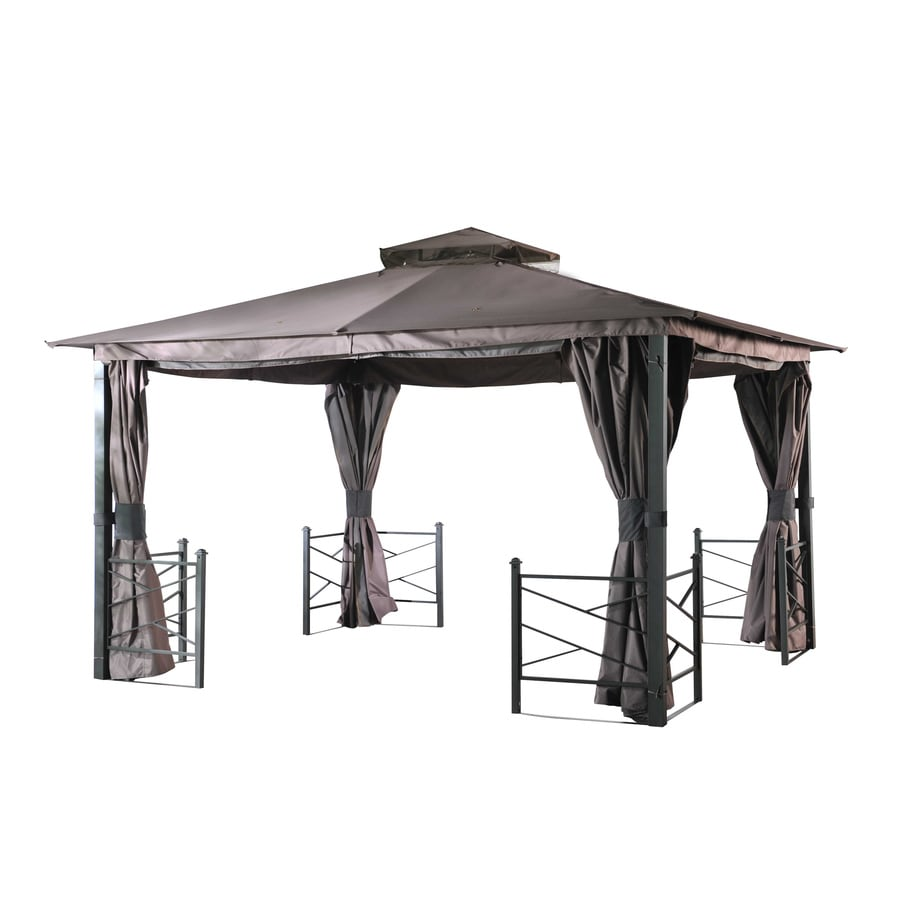 Shop sunjoy sunward black steel rectangle screened gazebo exterior 10 ft x 12 ft foundation - Build rectangular gazebo guide models ...