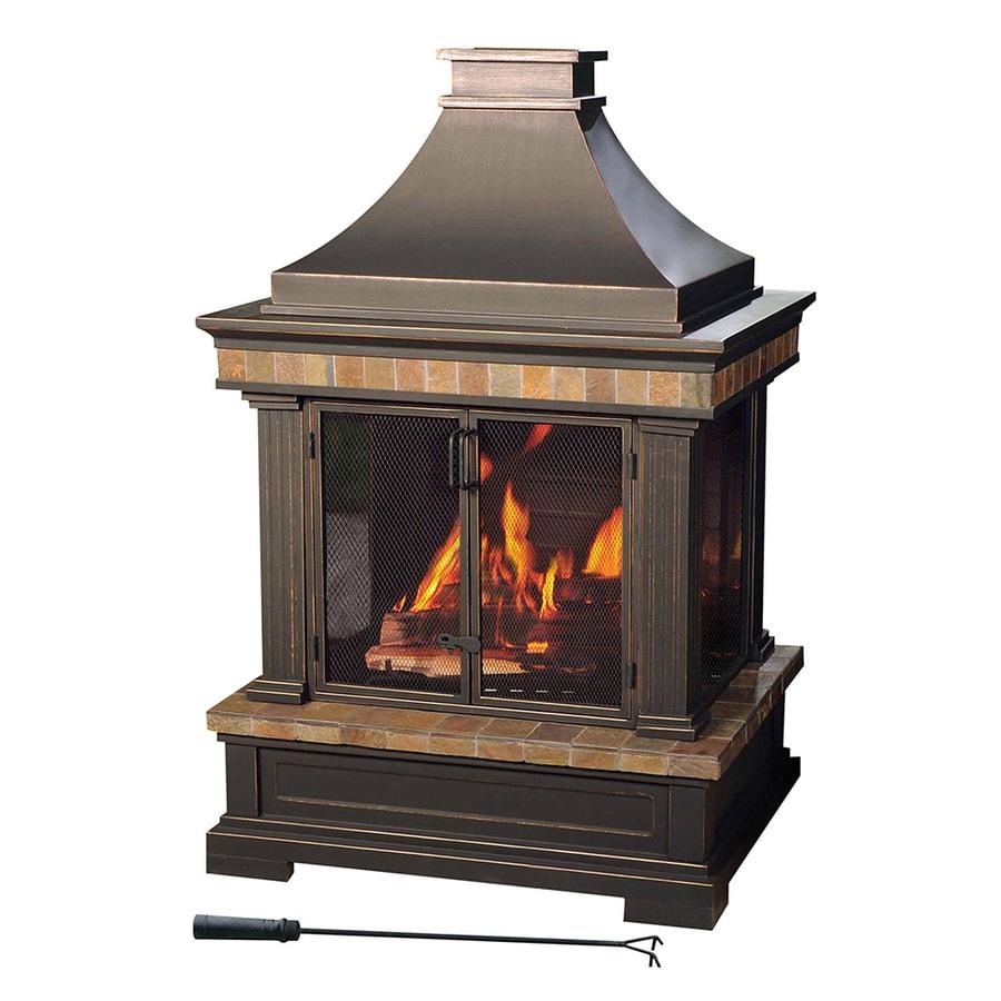 Backyard Fireplace Lowes : Shop Sunjoy Black Steel Outdoor WoodBurning Fireplace at Lowescom