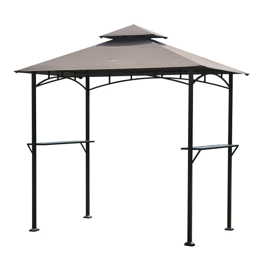 Shop sunjoy black rectangle grill gazebo foundation x 8 ft at - Build rectangular gazebo guide models ...