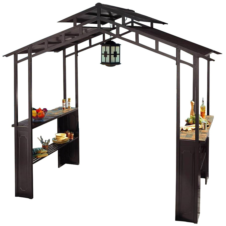 Shop sunjoy black rectangle grill gazebo foundation 5 ft x 8 ft at - Build rectangular gazebo guide models ...