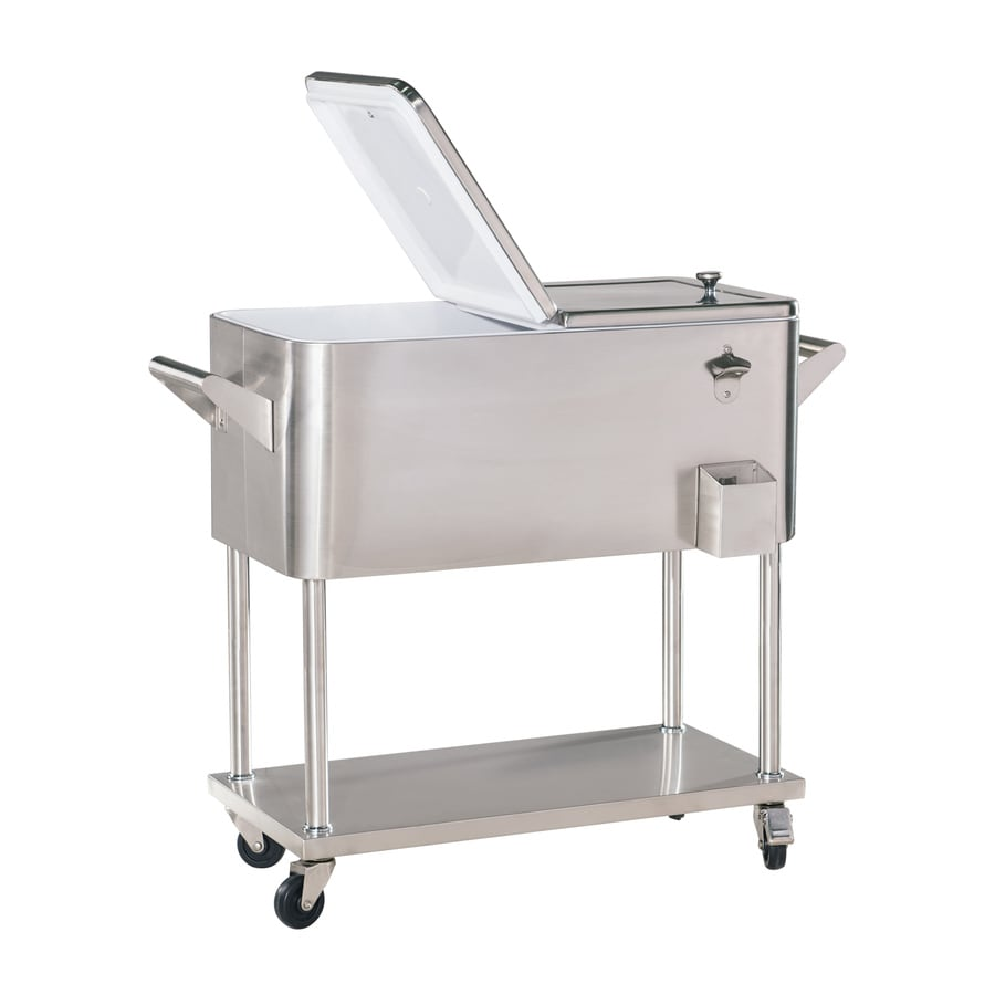 Shop Sunjoy 80 Quart Wheeled Steel Cart Cooler At Lowes Com