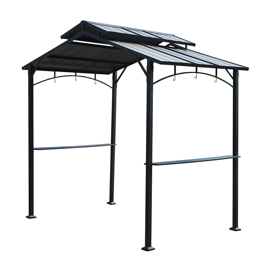 Shop sunjoy black rectangle grill gazebo foundation 5 ft x 8 1 ft at - Build rectangular gazebo guide models ...