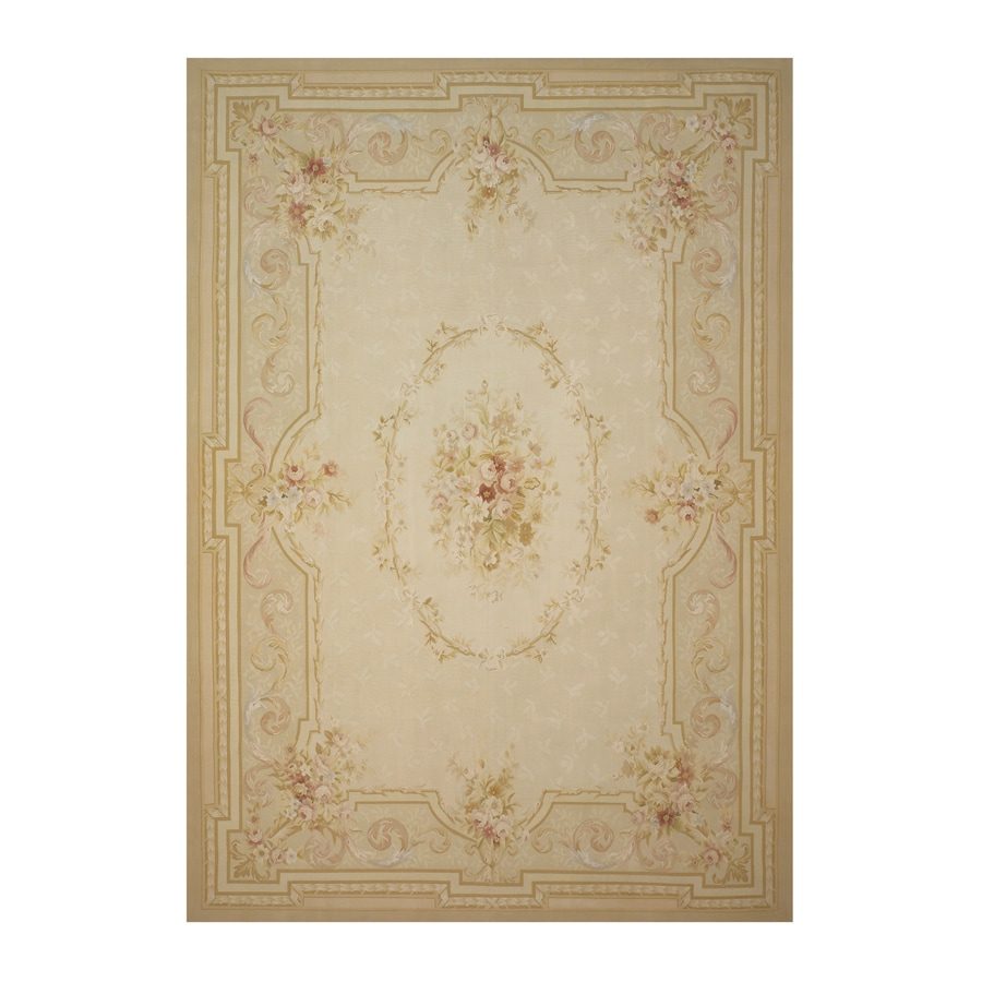 Versailles Cream Rectangular Indoor Hand-Knotted Oriental Area Rug (Common: 8 x 10; Actual: 96-in W x 120-in L)