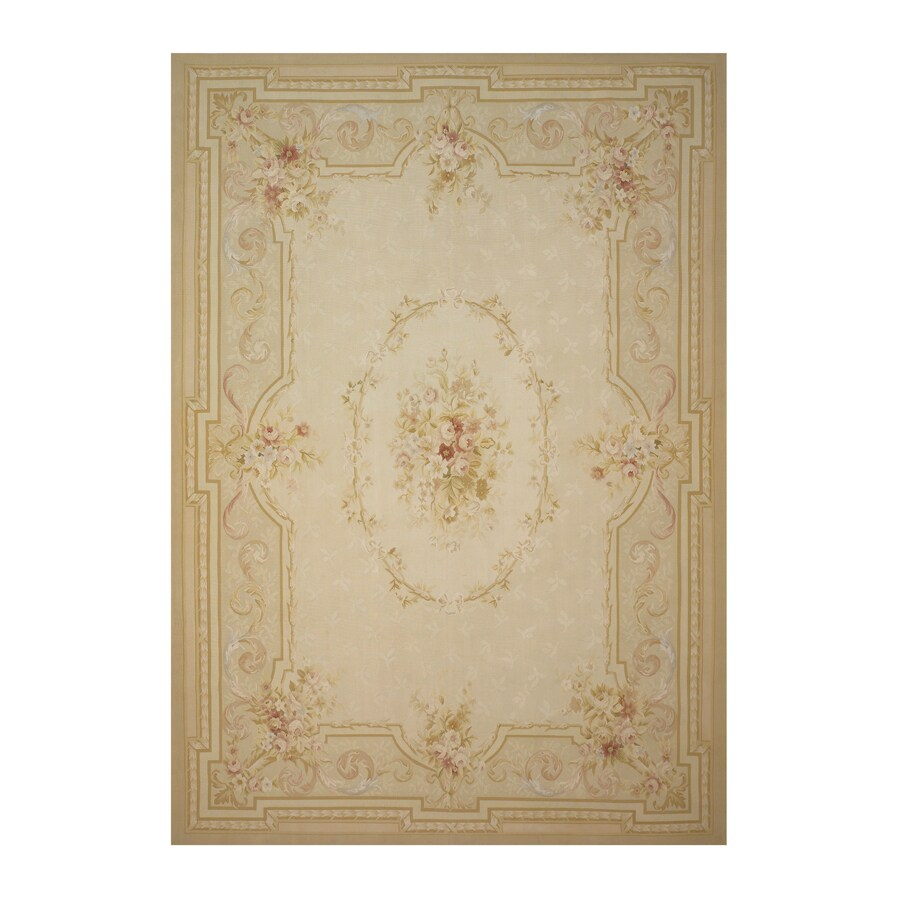 Versailles Cream Rectangular Indoor Hand-Knotted Oriental Area Rug (Common: 10 x 14; Actual: 120-in W x 168-in L)