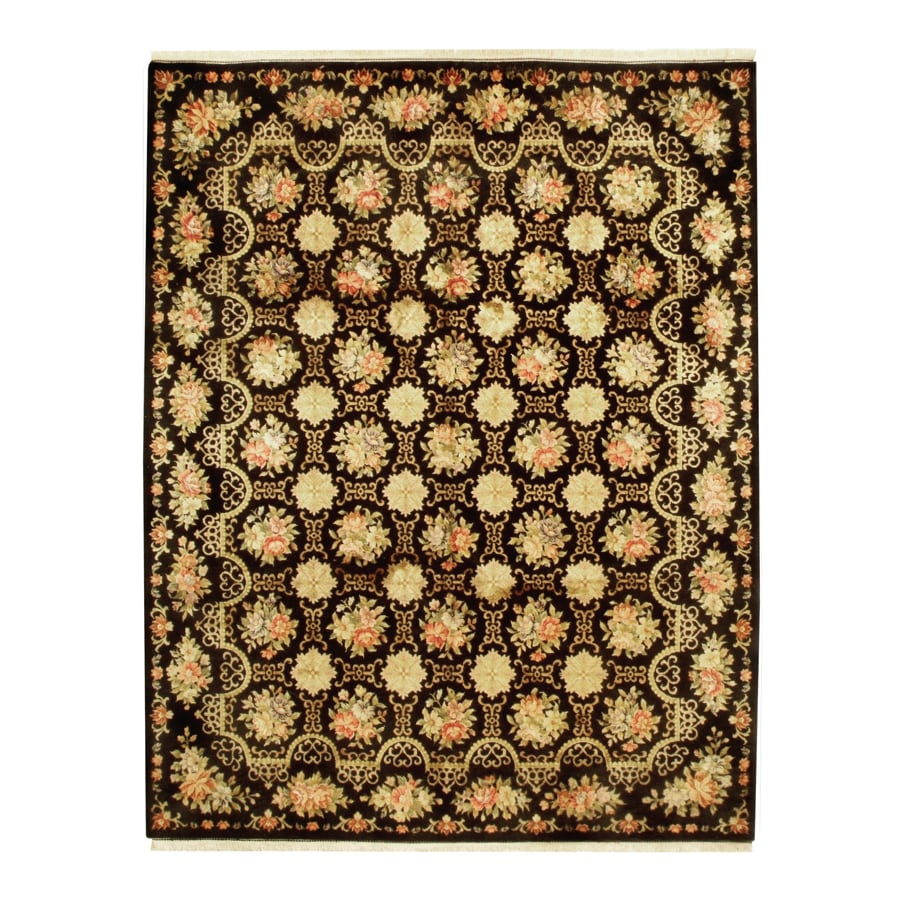 Austrian Black Rectangular Indoor Hand-Knotted Oriental Area Rug (Common: 8 x 10; Actual: 96-in W x 120-in L)