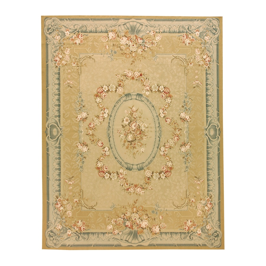Versailles Gold Rectangular Indoor Hand-Knotted Oriental Area Rug (Common: 8 x 10; Actual: 96-in W x 120-in L)