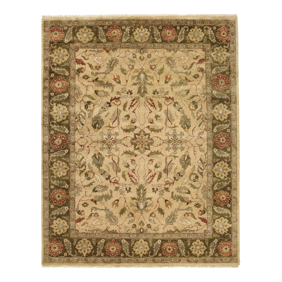 Orissa Gold Rectangular Indoor Hand-Knotted Oriental Area Rug (Common: 10 x 14; Actual: 120-in W x 168-in L)