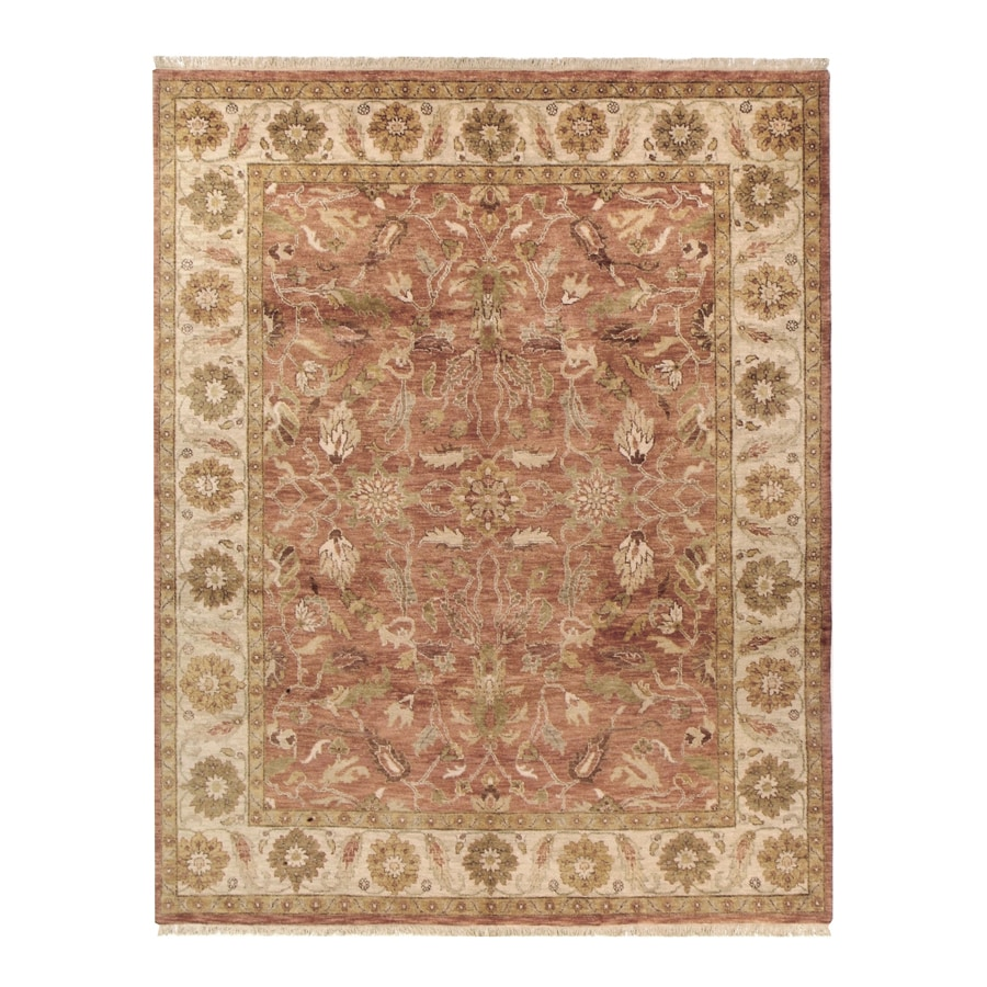 Orissa Brick Rectangular Indoor Hand-Knotted Oriental Area Rug (Common: 9 x 12; Actual: 108-in W x 144-in L)