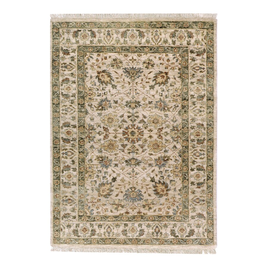 Orissa Ivory Rectangular Indoor Hand-Knotted Oriental Area Rug (Common: 8 x 10; Actual: 96-in W x 120-in L)