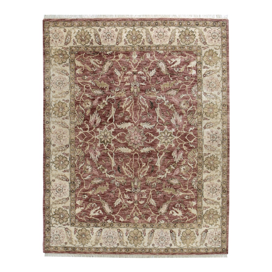 Orissa Claret Rectangular Indoor Hand-Knotted Oriental Area Rug (Common: 8 x 10; Actual: 96-in W x 120-in L)