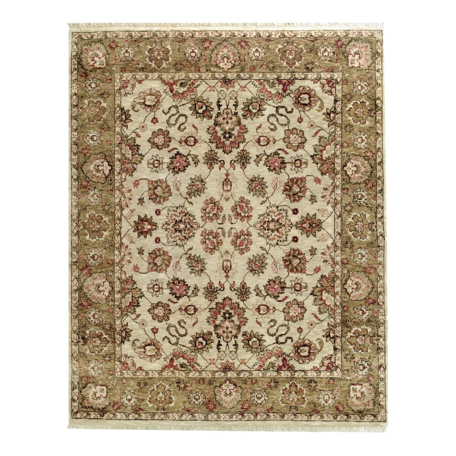 Orissa Ivory Rectangular Indoor Hand-Knotted Oriental Area Rug (Common: 10 x 14; Actual: 120-in W x 168-in L)