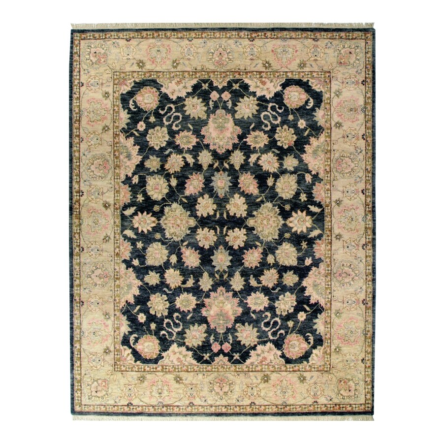 Orissa Graphite Rectangular Indoor Hand-Knotted Oriental Area Rug (Common: 8 x 10; Actual: 96-in W x 120-in L)