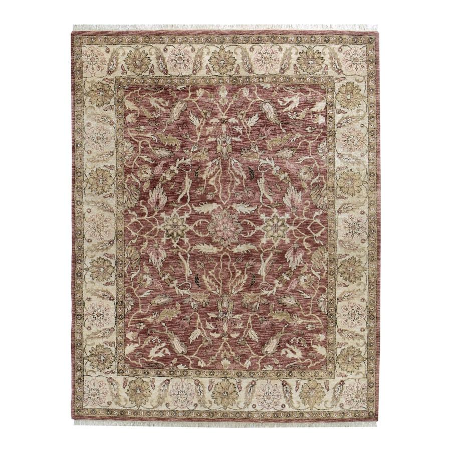 Orissa Claret Rectangular Indoor Hand-Knotted Oriental Area Rug (Common: 10 x 14; Actual: 120-in W x 168-in L)