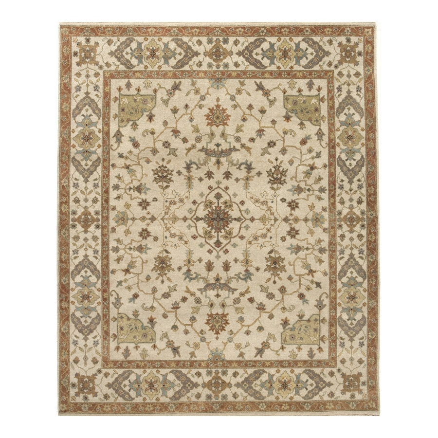 Delhi Cream Rectangular Indoor Hand-Knotted Oriental Area Rug (Common: 6 x 9; Actual: 72-in W x 108-in L)
